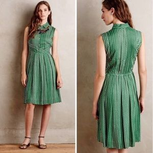 Anthro 11-1-Tylho green polka dot collar dress m